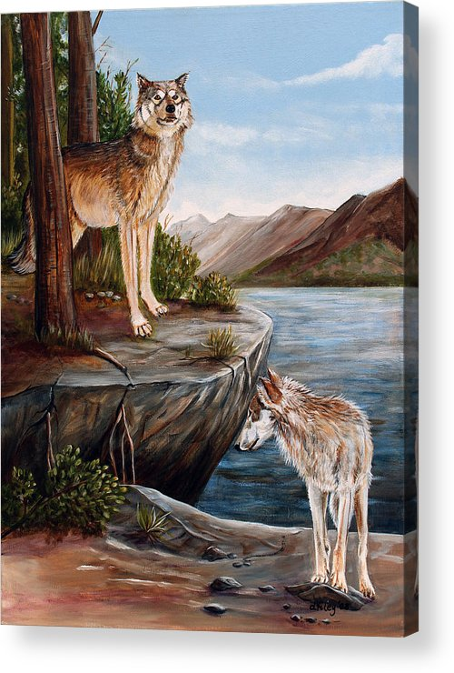 Wolves Acrylic Print featuring the painting Two Wolves by Dorothy Riley