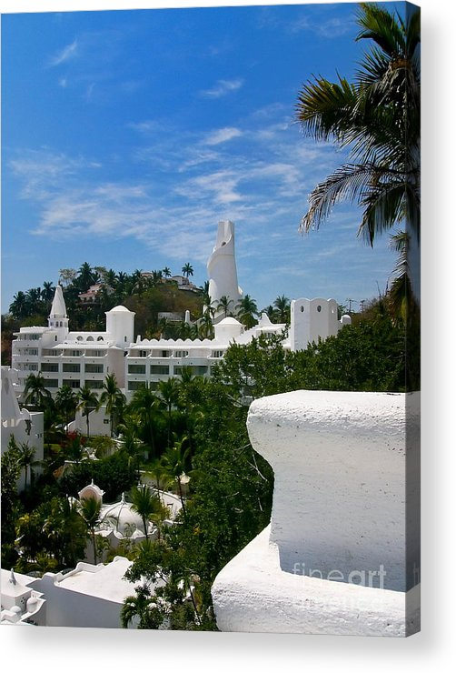 Apartment Acrylic Print featuring the photograph Villas On A Hillside In Manzanillo Mexico by Amy Cicconi