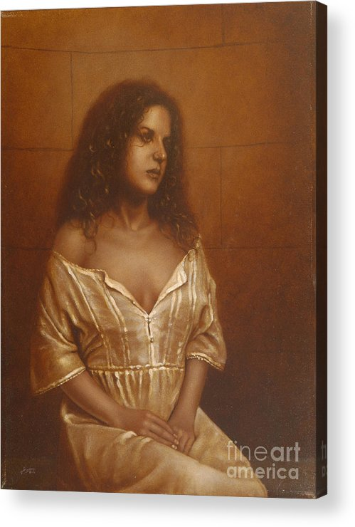 Girl Acrylic Print featuring the painting Waiting For Her Lover by John Silver
