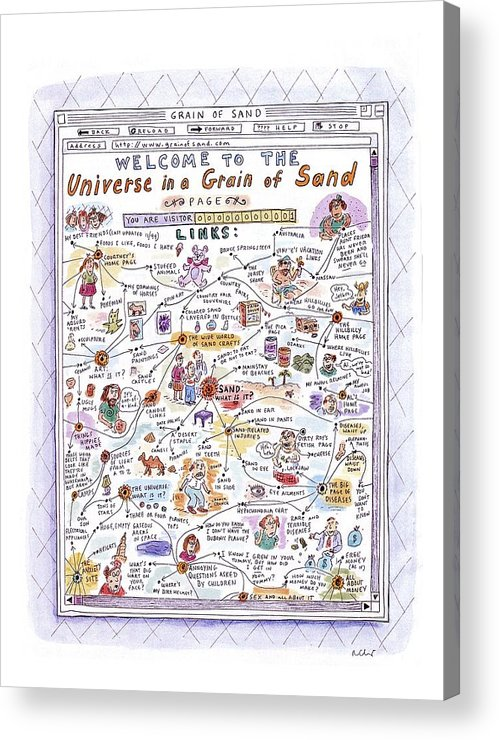 Sand Acrylic Print featuring the drawing 'welcome To The Universe In A Grain Of Sand' by Roz Chast