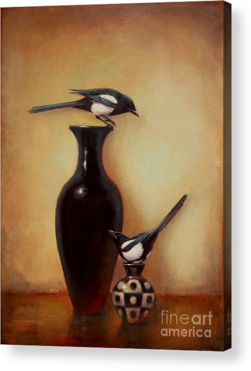 Black And White Acrylic Print featuring the painting Yin Yang - Magpies by Lori McNee