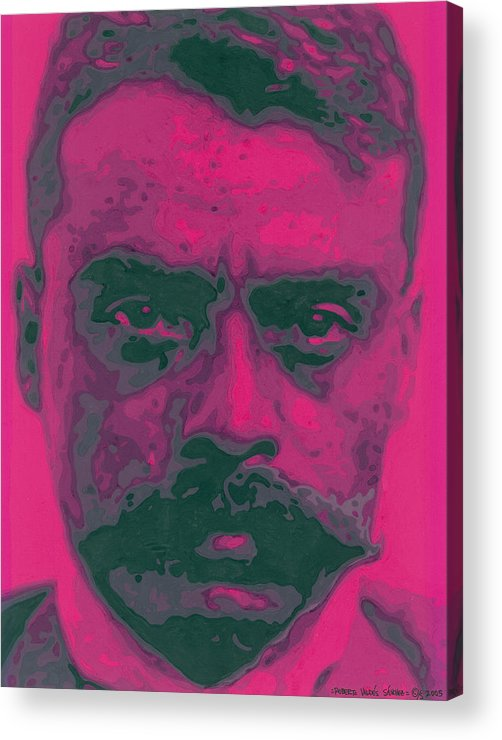 Emiliano Zapata Acrylic Print featuring the painting Zapata Intenso by Roberto Valdes Sanchez