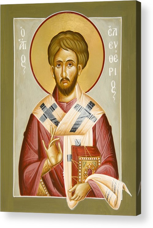 St Eleftherios Acrylic Print featuring the painting St Eleftherios by Julia Bridget Hayes