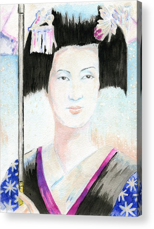 Gouache Acrylic Print featuring the painting Winter Geisha by Karen Clark