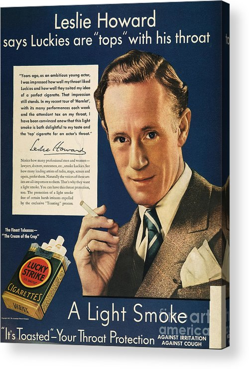 1937 Acrylic Print featuring the photograph Lucky Strike Cigarette Ad by Granger