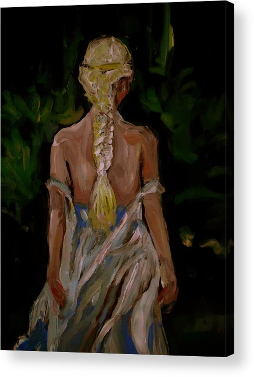 Girl Acrylic Print featuring the painting Blue Dress by Adam Kissel