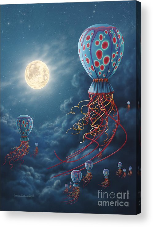 Lynette Cook Acrylic Print featuring the painting Blue Floaters by Lynette Cook