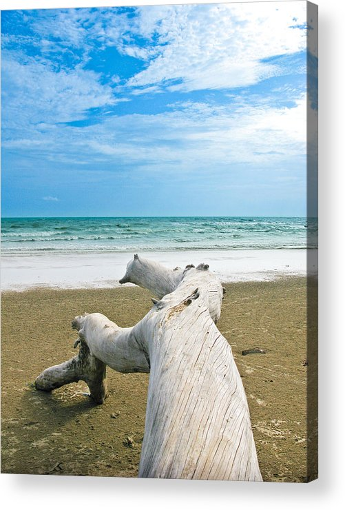 Beach Acrylic Print featuring the photograph Blue Sea And Sky With Log On The Beach by Nawarat Namphon