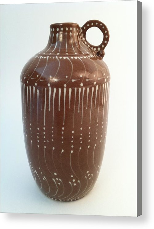 Art Acrylic Print featuring the ceramic art Bottle Of Deep Red Clay With White Slip Decoration And A Handle by Carolyn Coffey Wallace
