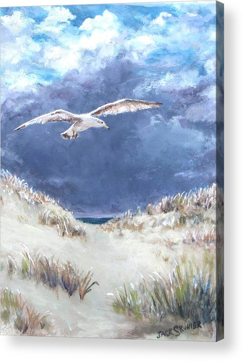 Seagull Acrylic Print featuring the painting Cloudy With A Chance Of Seagulls by Jack Skinner