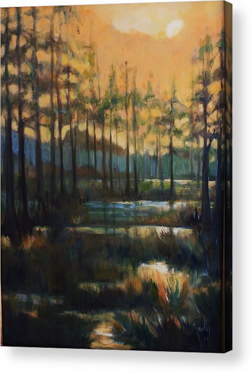 Cypress Acrylic Print featuring the painting Cypress Swamp by Jody Domingue