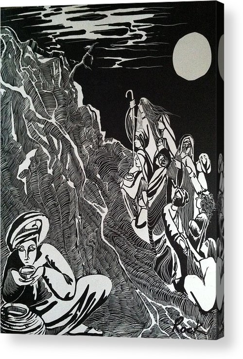 Bible Madman Black White Moon Acrylic Print featuring the drawing Don't Drink The Water by Jackie Rock