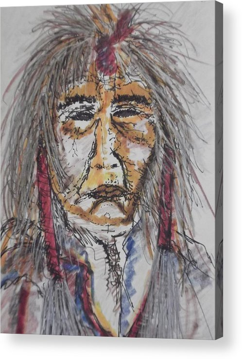 Portrait Native American Grandfather Spirit  Acrylic Print featuring the mixed media Grandfather Spirit by Nashoba Szabol