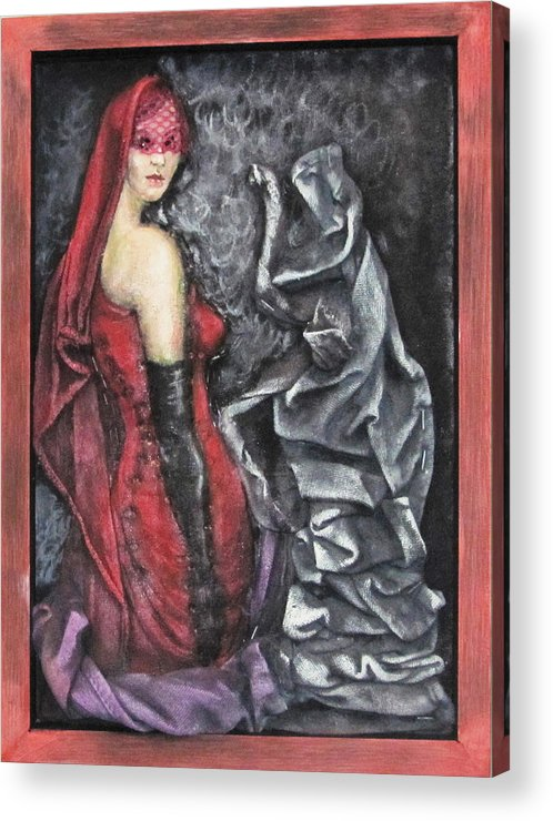 Surrealistic Acrylic Print featuring the mixed media Her And The Ghost by Emilian Pop