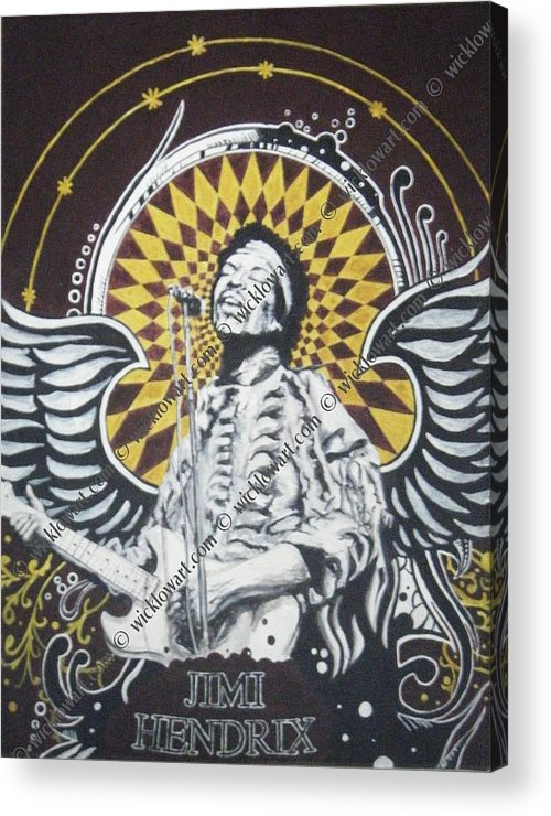 Jimi Hendrix Acrylic Portrait Painting Acrylic Print featuring the painting Jimi With Wings by William McCann