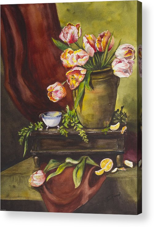 Watercolor Acrylic Print featuring the painting Library Table With Tulips by Toni Roark
