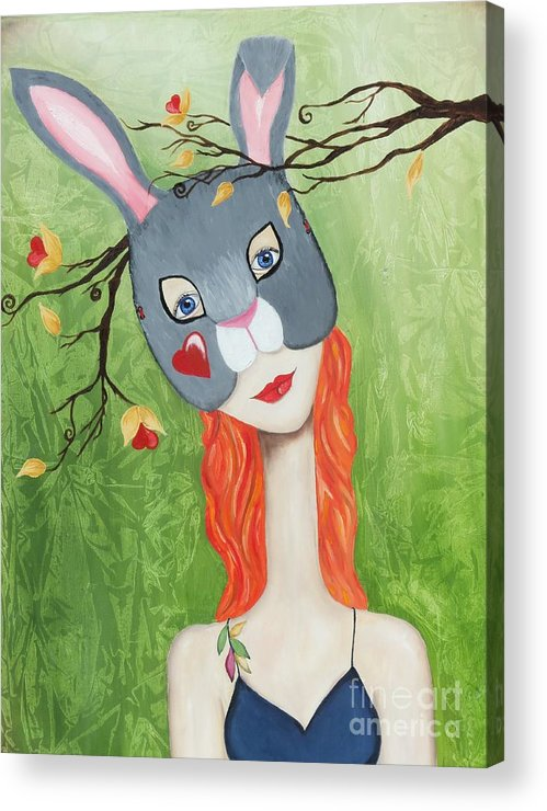 Bunny Acrylic Print featuring the painting Love Bunny by Cassie Foster