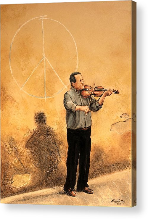 Lucca Acrylic Print featuring the painting Luchese Street Musician by Greg Riley