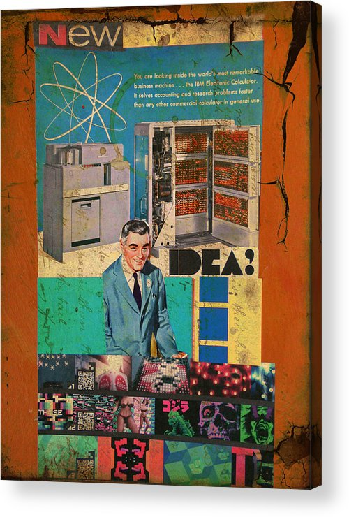 Collage Acrylic Print featuring the mixed media New Idea by Adam Kissel