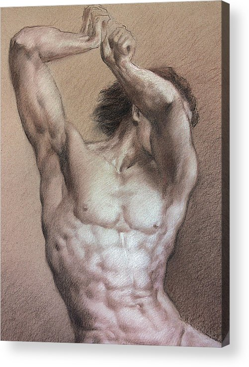 Man Acrylic Print featuring the drawing Nude 9 A by Valeriy Mavlo