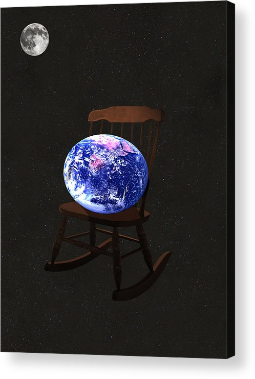 Rock The World Acrylic Print featuring the mixed media Rock The World by Eric Kempson