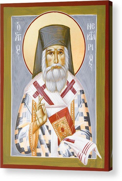 Saint Nektarios Of Aigina Acrylic Print featuring the painting St Nektarios by Julia Bridget Hayes