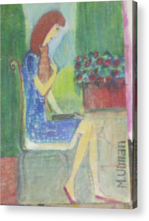 Woman Reading With Her Cat On Her Lap In The Garden Acrylic Print featuring the painting Sylvia by Margaret Ulman