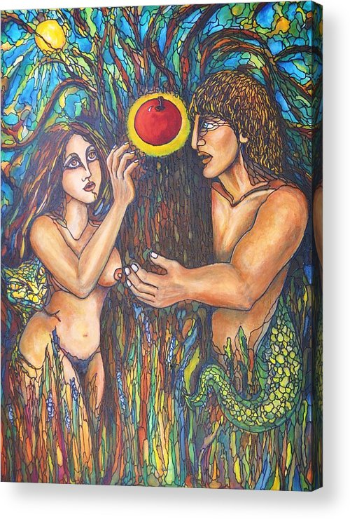 Adam And Eve Acrylic Print featuring the painting Temptation Of Adam And Eve by Rae Chichilnitsky