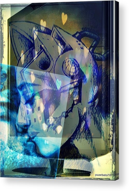 Physical Sensation Acrylic Print featuring the digital art Virtual Kiss 1 by Paulo Zerbato