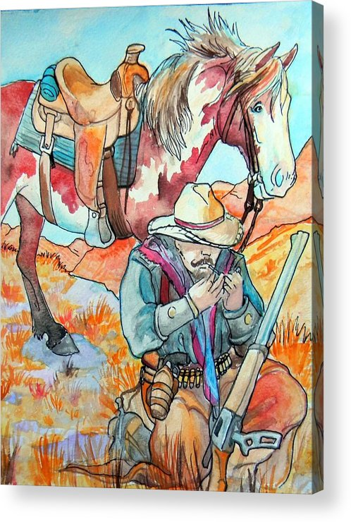 Cowboy Acrylic Print featuring the painting Waiting For Sunset by Jenn Cunningham