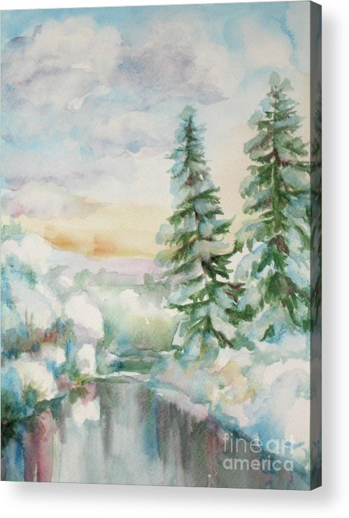 Winter Painting Acrylic Print featuring the painting Winter Reflections by Inese Poga