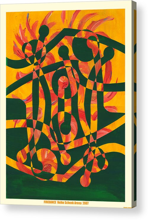 Collage.abstract Acrylic Print featuring the mixed media Firedance by Heike Schenk-Arena