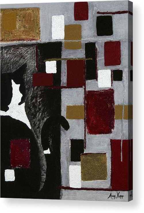 Abstract Acrylic Print featuring the painting Hidden Patrick by Amy Parker Evans