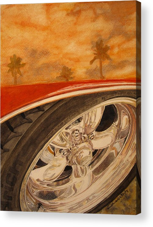 Classic Car Acrylic Print featuring the painting Orange Classic by Theresa Higby