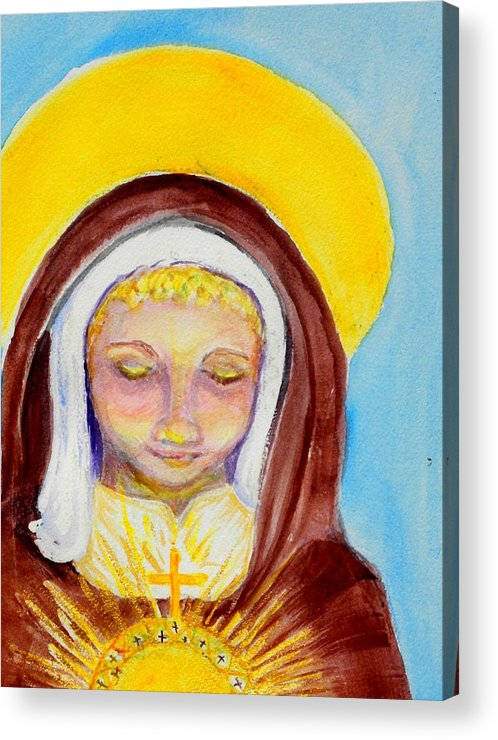 St. Clare Acrylic Print featuring the painting St. Clare Of Assisi by Susan Clark