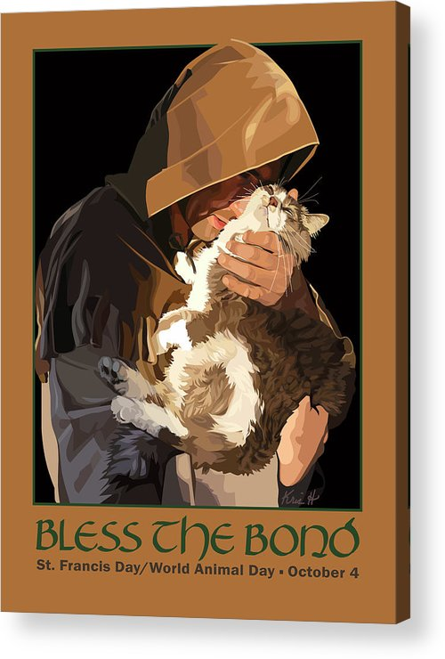 Animal Acrylic Print featuring the digital art St. Francis With Cat by Kris Hackleman