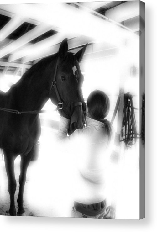Horse Acrylic Print featuring the photograph Tacking Up by Donna Thomas