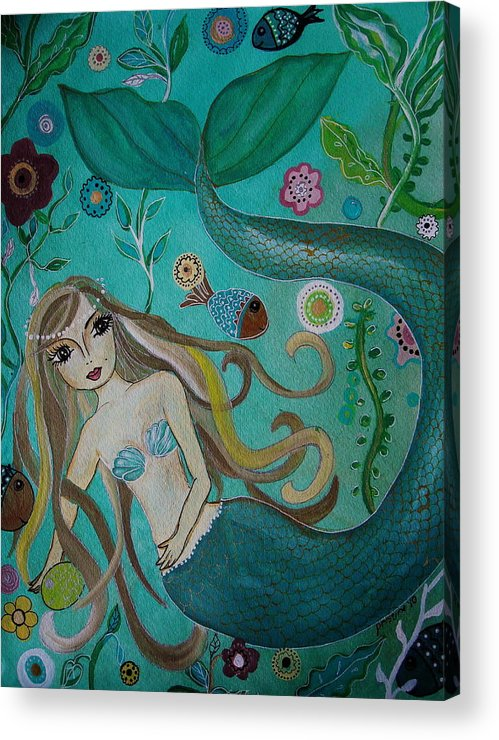 Mermaid Acrylic Print featuring the painting Under The Sea by Pristine Cartera Turkus