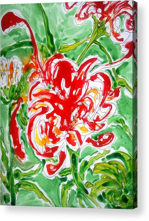 Abstract Flowers Floral Botanical Nature Acrylic Print featuring the painting Divine Flowers by Baljit Chadha