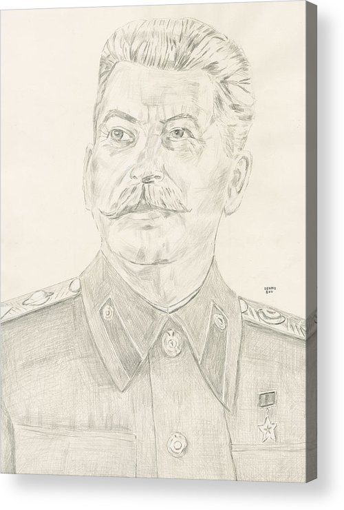 Stalin Acrylic Print featuring the drawing Stalin by Dennis Larson