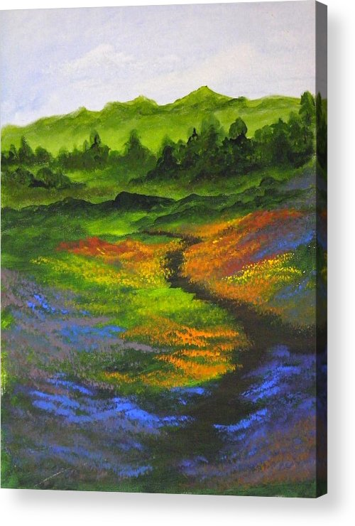 Wildflowers Acrylic Print featuring the painting A Walk Through The Wildflowers by Rhonda Myers