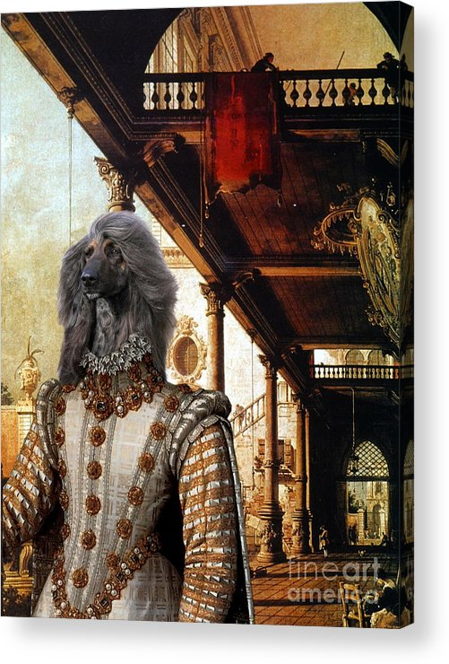 Afghan Hound Canvas Acrylic Print featuring the painting Afghan Hound-capriccio Of Colonade And The Courtyard Of A Palace Canvas Fine Art Print by Sandra Sij
