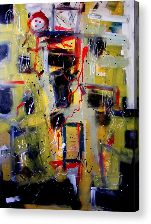 Abstract Acrylic Print featuring the painting African Doll With Totems by Peter Bethanis