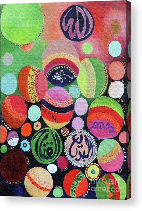 Color Balls Acrylic Print featuring the painting Allah Names - Circles by Badirah Farrah