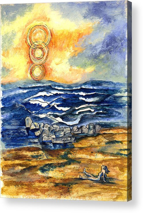Seascape Acrylic Print featuring the painting Alone At The Beach by Lily Hymen