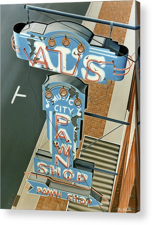 Sign Acrylic Print featuring the painting Al's by Van Cordle