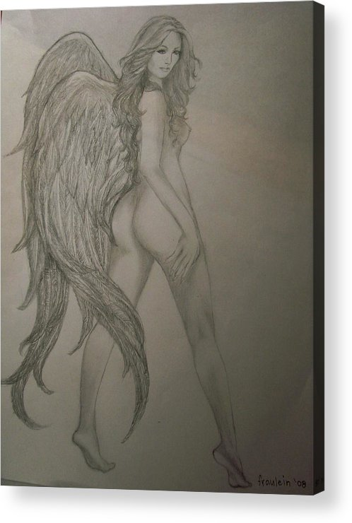 Angel Acrylic Print featuring the drawing An Angel by Glory Fraulein Wolfe