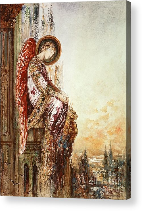 Watercolor Acrylic Print featuring the painting Angel Traveller by Gustave Moreau