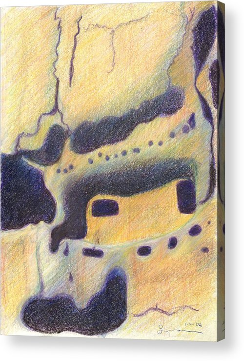Bandelier National Monument Acrylic Print featuring the drawing Bandelier I by Harriet Emerson