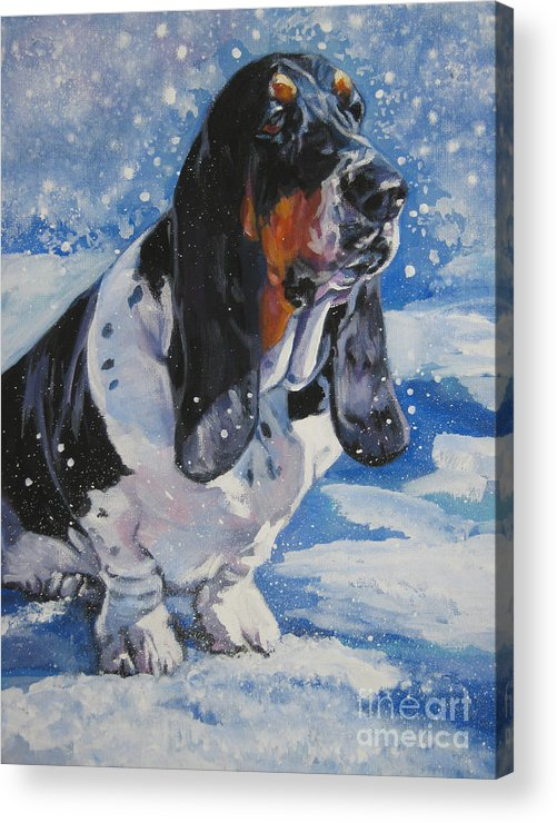 Dog Acrylic Print featuring the painting basset Hound in snow by Lee Ann Shepard